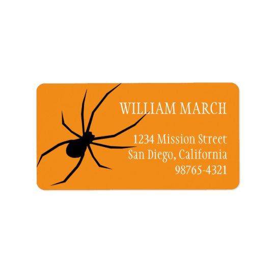 Orange black spider Halloween return address Label