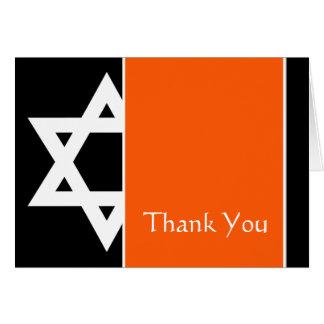 Orange Black Star of David Bar Mitzvah Thank You Card