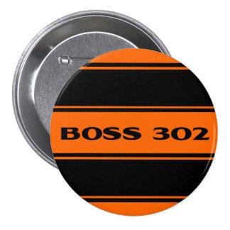 Orange Black Stripe Muscle Car Boss 302 Button Pinback Buttons