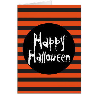 Orange Black Striped Spooky Font Happy Halloween Card