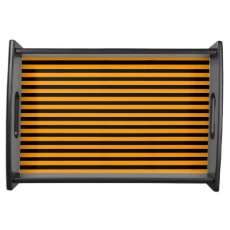 Orange Black Stripes Halloween Serving Tray Small