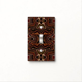 Orange Black Vintage Retro Nouveau Deco Pattern Light Switch Cover