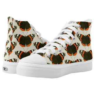 Orange Black & White Butterflies High Top Shoes
