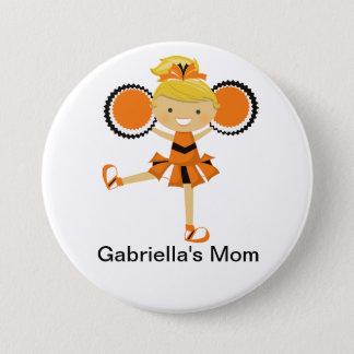 Orange, Black & White Cheer Mom Button