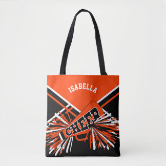 Orange, Black & White Cheerleader Design Tote Bag