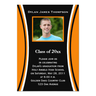 Orange, Black, White Photo Graduation Invitation