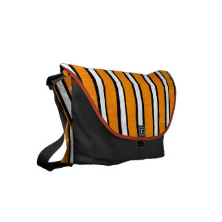 Orange black white stripe pattern messenger bags