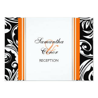 Orange black white wedding engagement card