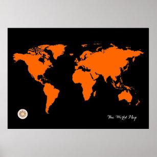 Black World Map Poster.Black World Map Posters Prints Poster Printing Zazzle Ca