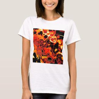 Orange Blazing Fractal Saddle T-Shirt