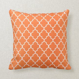 Orange Blend and White Quatrefoil Pattern Throw Pillow