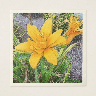 Orange Bloom and Bud Photograph Disposable Napkins