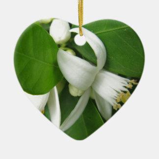 Orange Blossom Ceramic Heart Ornament
