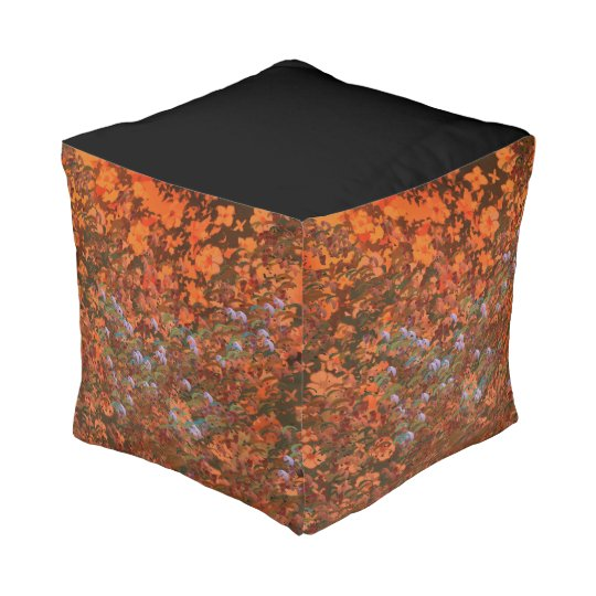 Orange Blossom cubed pouf