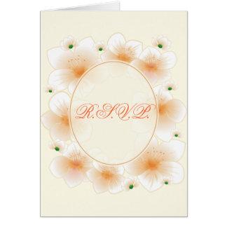 Orange Blossom Flowers Romantic RSVP Stationery Note Card