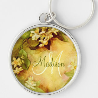 Orange Blossom Initial Silver-Colored Round Keychain