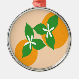 Orange Blossom Silver-Colored Round Ornament