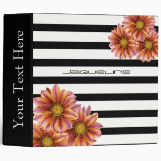 Orange Blossoms Black and White Stripe 3 Ring Binder