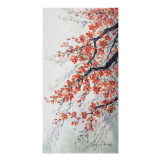 Orange Blossoms on Branch Canvas Poster