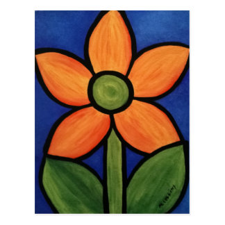 Orange Blue Abstract Flower Postcard