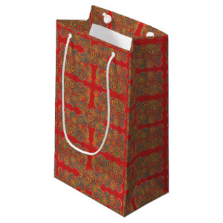 orange blue abstract gift bag