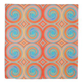 Orange Blue Abstract Swirl Pattern Duvet Cover