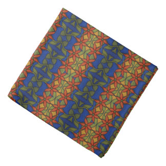 Orange Blue And Green Floral Pattern Bandana
