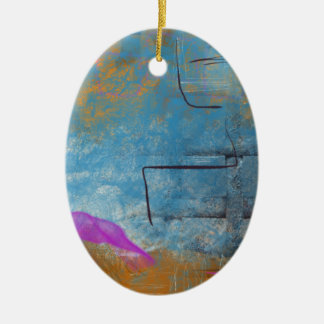 Orange Blue and Pink Grid Ceramic Oval Ornament