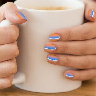 Orange, blue and white stripes nail art