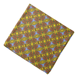 Orange Blue And Yellow Floral Pattern Bandana