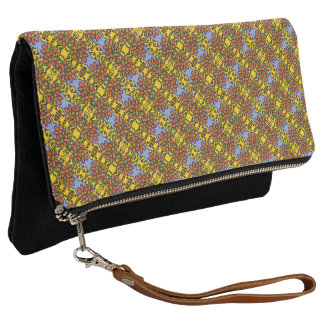 Orange Blue And Yellow Floral Pattern Clutch