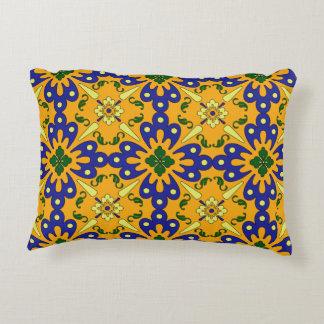 Orange Blue And Yellow  Talavera Tile Design Decorative Pillow