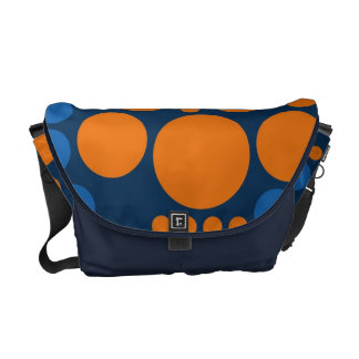 Orange Blue Big Polka Dots Messenger Bags