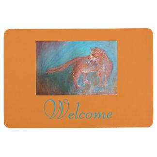 orange blue cat floor mat