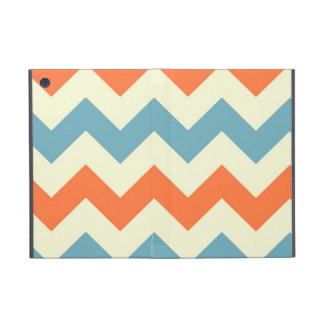 Orange blue chevron zigzag stripes zig zag pattern iPad mini covers