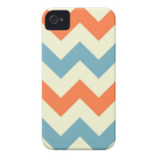 Orange blue chevron zigzag stripes zig zag pattern iPhone 4 case