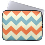 Orange blue chevron zigzag stripes zig zag pattern laptop sleeves