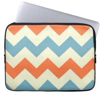 Orange blue chevron zigzag stripes zig zag pattern laptop sleeve