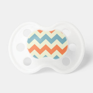 Orange blue chevron zigzag stripes zig zag pattern pacifier