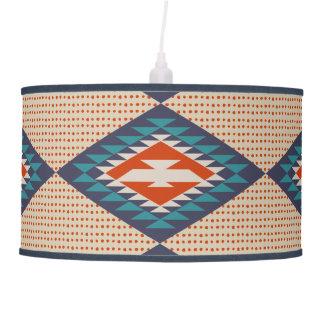 Orange, Blue, Dots, Tribal Style, Aztec Ceiling Lamp