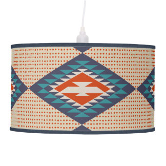 Orange, Blue, Dots, Tribal Style, Aztec Pendant Lamp