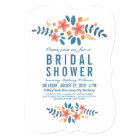 Orange Blue Floral Bridal Shower Photo Invite
