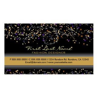 Orange blue glitter specks custom business cards