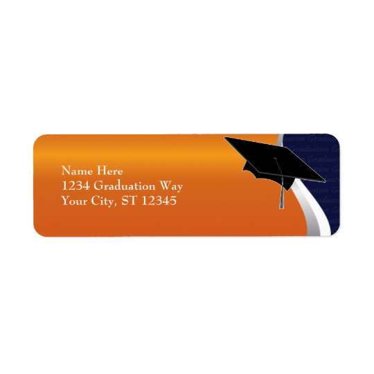 Orange & Blue Graduation Address Label