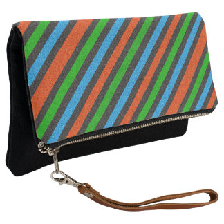 Orange, Blue, Green, Black Glitter Striped STaylor Clutch