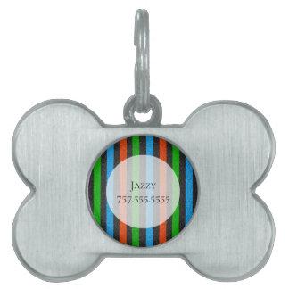 Orange, Blue, Green, Black Glitter Striped STaylor Pet ID Tag