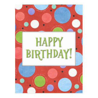 Orange Blue Green Generic Birthday Postcard