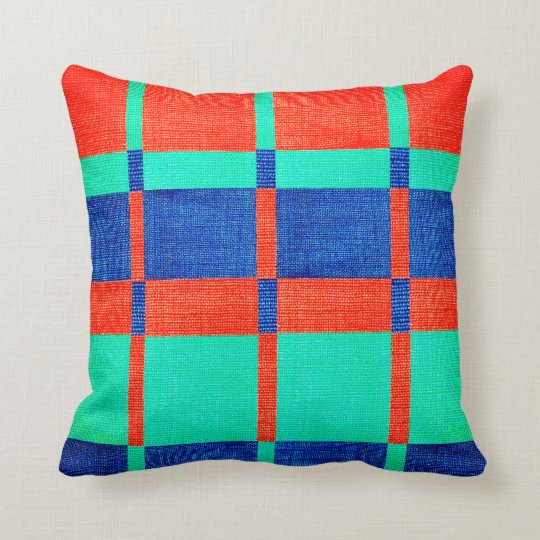 Orange Blue Grey Chequered Fabric Design Throw Pillow