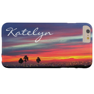 Orange blue & red clouds sunrise photo custom name barely there iPhone 6 plus case