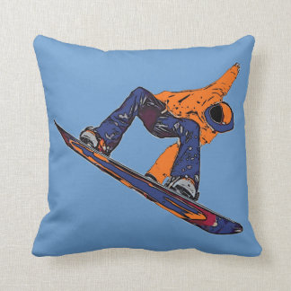 Orange blue rush snowboarder artistic pillow